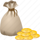 bag, bagful, buck, cash, cocoanut, coconut, coin, currency, dollar, dollars, dough, money, pocket, purse, sac, sack, smacker icon