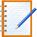 deed, diary, document, instrument, jotter, music, notebook, notepad, notes, pad, paper, pocketbook, record, scratchpad, sketchpad, tablet, write, writing icon