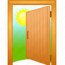 open, door, aisle, entrance, inlet, passageway, aperture of a door, admission, exposed, gangway, passage, discovered, doorway, uncovered, pass, entry, login, public, opened icon