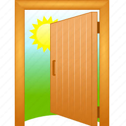 admission, aisle, aperture of a door, discovered, door, doorway, entrance, entry, exposed, gangway, inlet, login, open, opened, pass, passage, passageway, public, uncovered icon