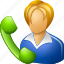 blower, bubble, call, female, girl, help, lady, live chat, message, operator, phone, receptionist, speech, support, talk, telephone, telephonist, woman icon