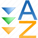 acsending, assort, descending, down, order, sort z-a, sorting