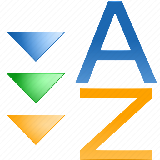 acsending, assort, descending, down, order, sort z-a, sorting icon