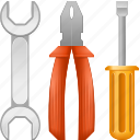 application tools, desktop settings, screwdriver, spanner, system configuration, transmission gears, wrench icon