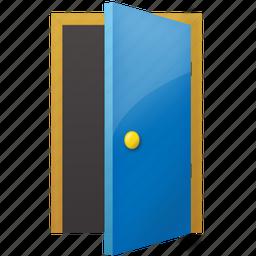 book, door, exit, folder, open, open door, send icon