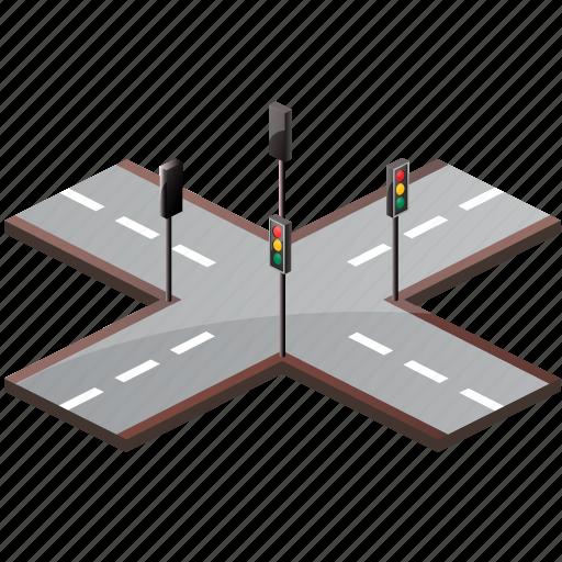 cross, crossroad, crossroads, crossway, road, roads, side, sign, street, traffic, traffic lights, transport, turn icon