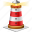 electric, home, house, light, light house, light-house, lighthouse, target, torch, tower, travel icon