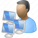 administrator, computer admin, developer, manager, moderator, network, programmer icon