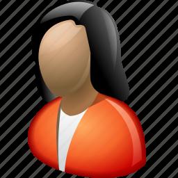 brunet, brunette, female, girl, lady, profile, woman icon