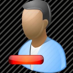 account, client, delete user, man, minus, remove, trash icon