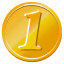 bitcoin, cache, cash, cent, coin, dime, dollar, gold, income, money, one, one dollar, rich icon
