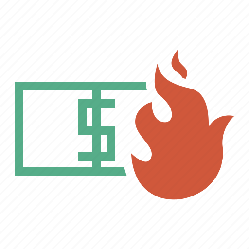 blaze, burn, cash, currency, damage, dollars, dough, fire, flame, flames, hot, light, money icon