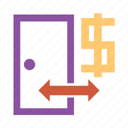 banking, cash, currency, dollars, door, dough, entry, house, money icon