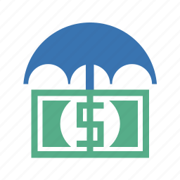 cash, currency, dollars, dough, insurance, money, pharmaceutical, protection, umbrella icon