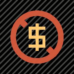 bareness, cash, dollar, empty pockets, money, no, poverty, scarceness icon