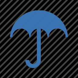 brolly, bumbershoot, canopy, gamp, gingham, insurance, mush, parasol, protect, protection, rain, safe, umbel, umbrella, weather icon