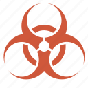 bio, contamination, danger, denouncement, gravity, hazard, imminence, impendence, infection, jeopardy, menace, peril, risk, sign, threat, warning icon