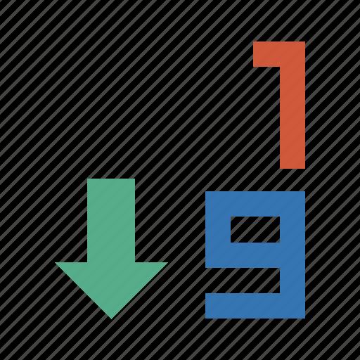 arrow, back, backward, excel, forward, normal, sort, sort 1-9, sorting, sorting 1-9, sprinting, z icon