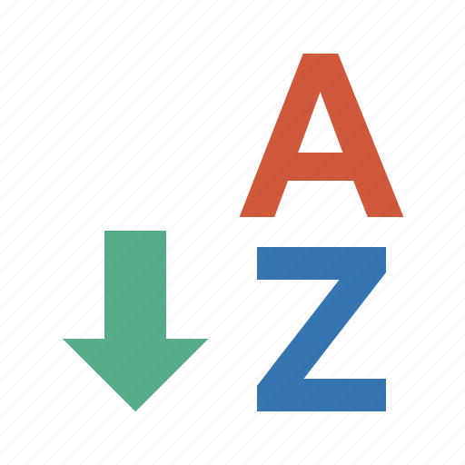 arrow, direction, disrection, down, normal, order, sort, sort a-z, sorting, sorting a-z, sprinting, z icon