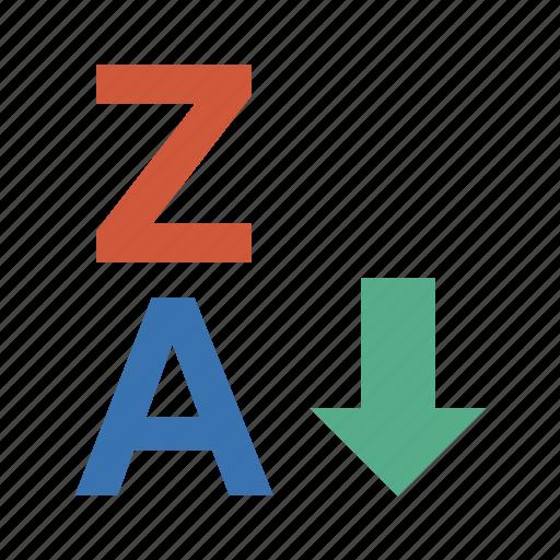 assort, enumeration, grade, list, nomenclature, order, panel, schedule, screen, scroll, select, separate, sort, sort z-a, sorting, sorting z-a, sprinting, z icon