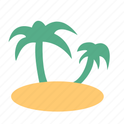 beach, coconut palm, island, nature, travel, tropical, vacation icon