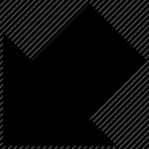 arrow, bottom, down, left icon