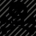 alert, attention, braincase, brainpan, cranium, danger, dead, death, death's head, error, evil, exclamation, face, halloween, head, jaw, pericranium, pirate, poison, scool, skeleton, skull, solution, suicide, toxic, warning icon