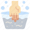 bucket, gestures, hand, hands, soap, wash, water icon