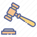 gavel, hammer, judge, mallet icon