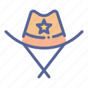 cowboy, hat, police, sheriff icon