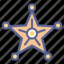 badge, honor, sheriff, star