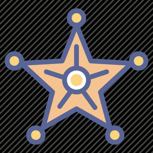 badge, honor, sheriff, star icon