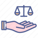 care, justice, legal, support icon