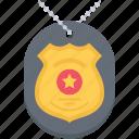 badge, chain, court, jurisprudence, law, police icon