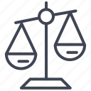 balance, justice, law, scale, weighing icon