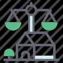 estate law, inheritance law, justice scale, legal estate, property law icon
