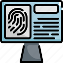 crime, fingerprint, justice, law, monitor, protection, security icon