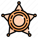 badge, crime, justice, law, police, sheriff, star icon