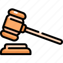 court, crime, gavel, hammer, judge, justice, law icon