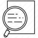 document, examination, magnifier, perusal, scan, scrutiny icon