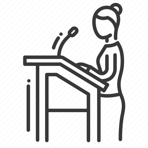 female, microphone, tribune, witness icon