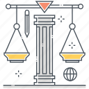 courtroom, equality, judge, justice, law, legal, scale icon