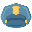 clothing, enforcement, hat, law, police, policing icon
