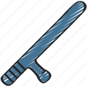baton, enforcement, law, police, policing, weapon icon