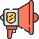 enforcement, law, megaphone, police, policing, speaker icon