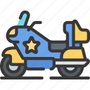 enforcement, law, motorbike, police, policing, vehicle icon