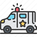 enforcement, law, police, policing, van icon