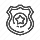 guard, police, protect, shield, star icon