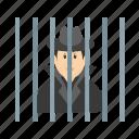 arrested, criminal, defense, handcuffs, jail, justice, man icon