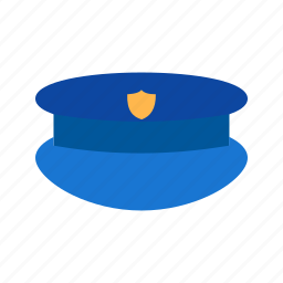 blue, cap, hat, law, officer, police, uniform icon